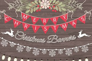 Vector christmas banners/lights