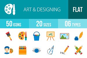 50 Art & Designing Flat Multicolor