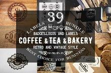 39 Coffee,Tea and Bakery logo bundle