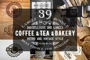 39 Coffee,Tea and Bakery logo bundle