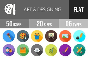 50 Art & Designing Flat Shadowed