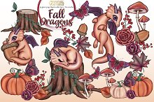 Fall dragons clipart collection