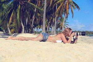 girl on the Caribbean beach
