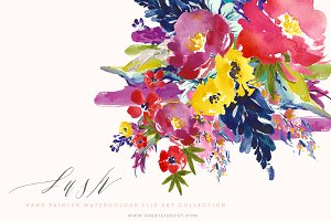 Watercolour Flower Clip Art - Lush
