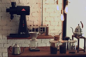 Cafe with coffee and equipments