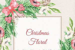 Watercolor Christmas floral clipart