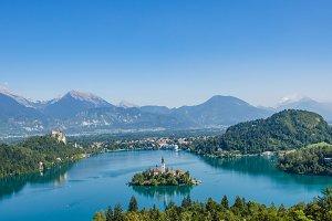 Sunny day at lake Bled
