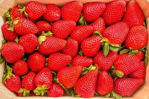 Top view of strawberries in a box