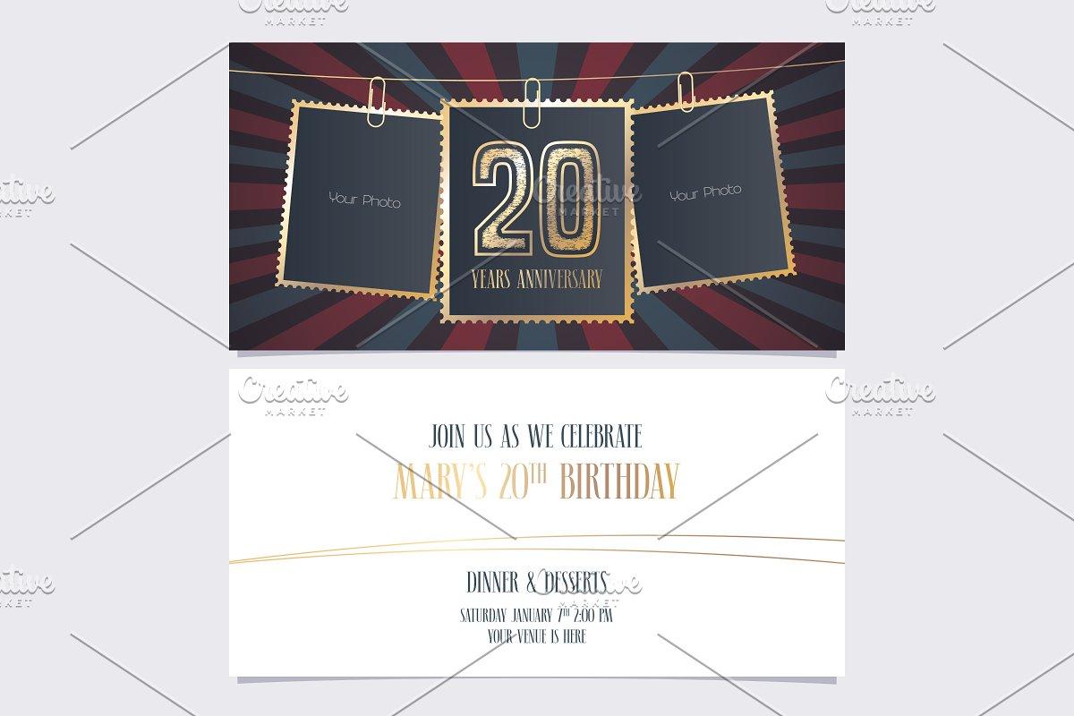 20th Anniversary Invitation Vector
