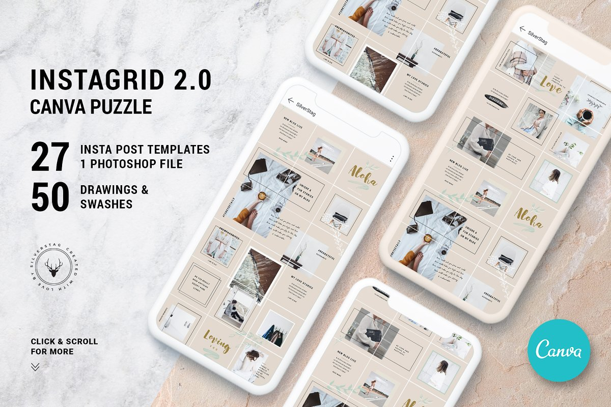 #InstaGrid 2.0 Canva Puzzle Template