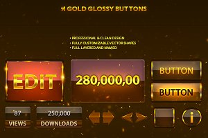 Gold UI Buttons Set