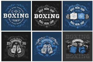 Boxing vintage vector labels.