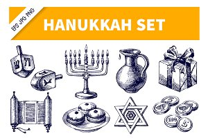 HandDrawn Sketch Hanukkah Vector Set