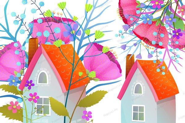 Flowers Bouquet House Illustration