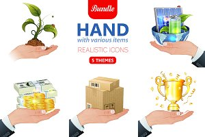 Hand with Various Items