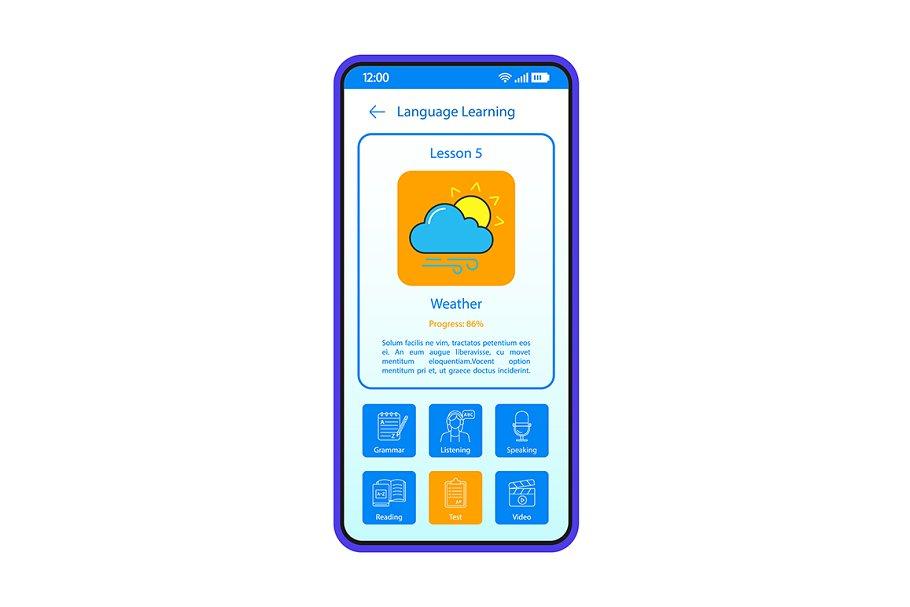 Language learning app interface