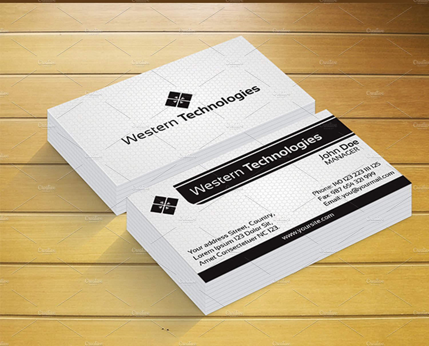 Western Technology Business Card ~ Business Card Templates ...