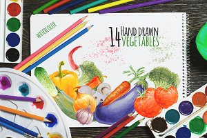 14 watercolor vegetables