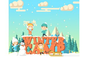 Winter camp illustration