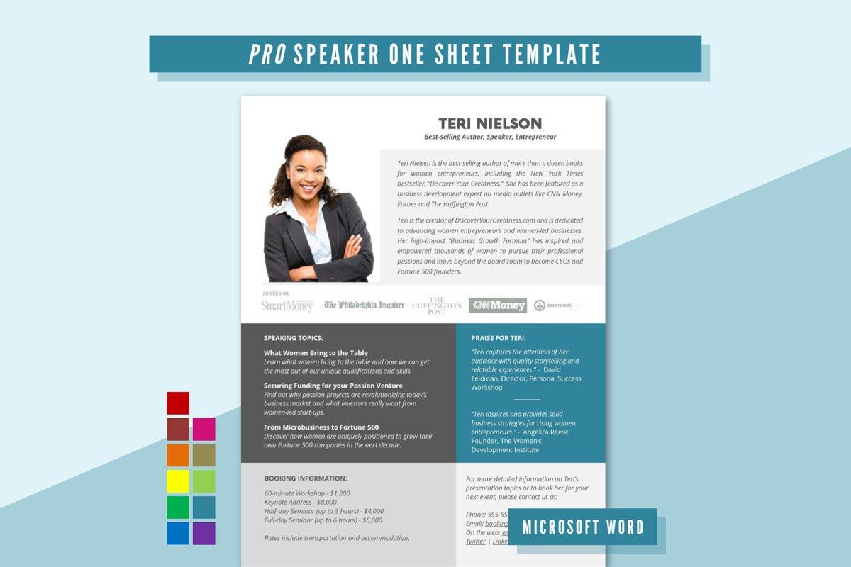 Pro Speaker One Sheet Template Resume Templates Creative