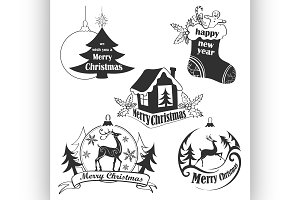 Christmas Retro Icons, Elements