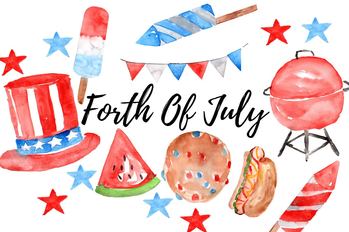 4th of july watercolor. Forth clipart