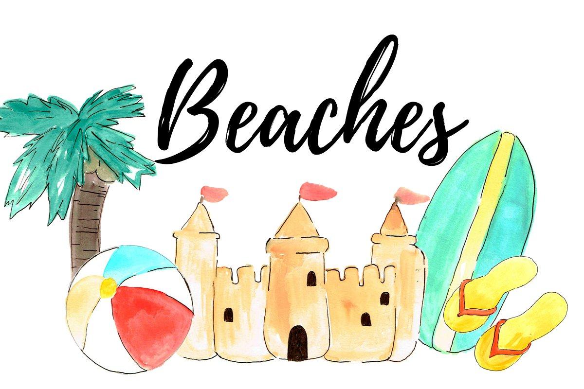 Beach watercolor. Summer clipart