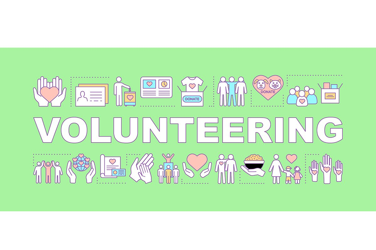 Volunteering word concepts banner