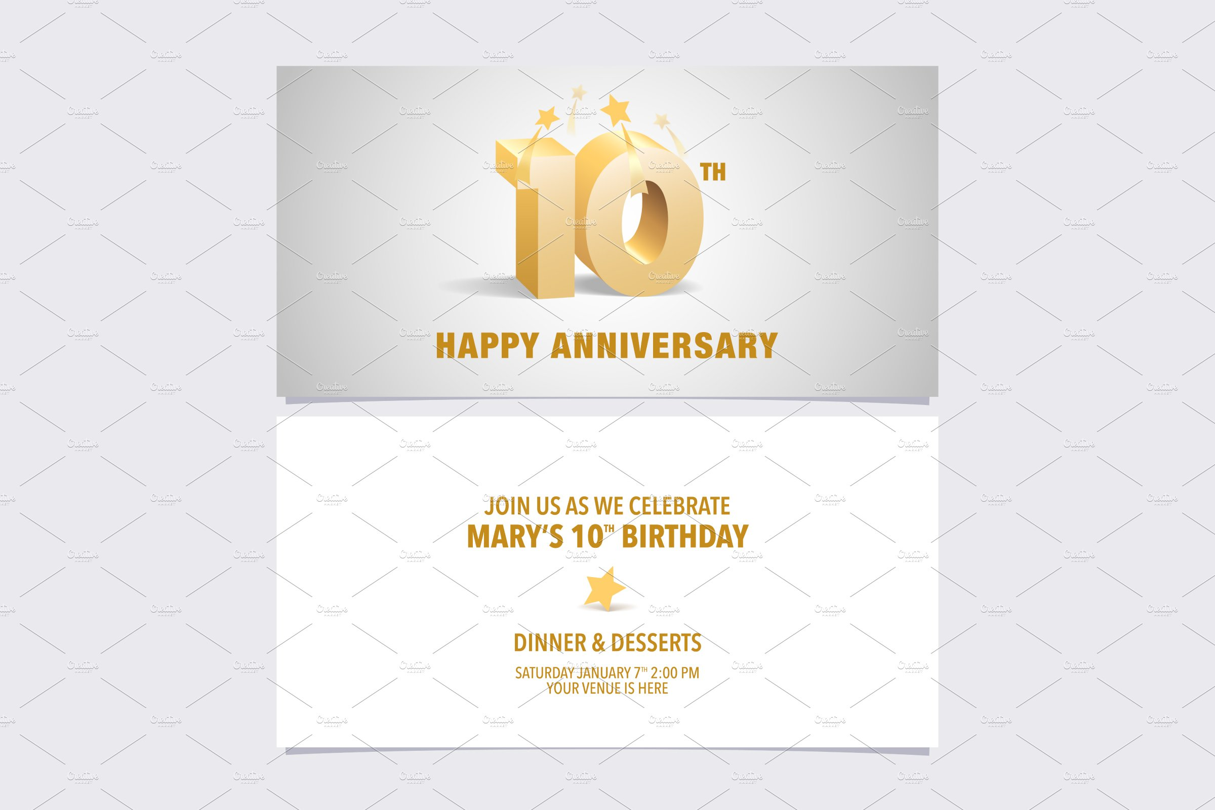 10th Anniversary Invitation Vector