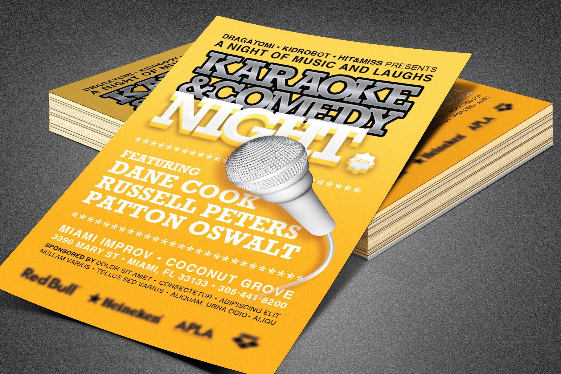 karaoke and comedy night flyer flyer templates. Black Bedroom Furniture Sets. Home Design Ideas