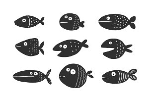 Fish set silhouettes