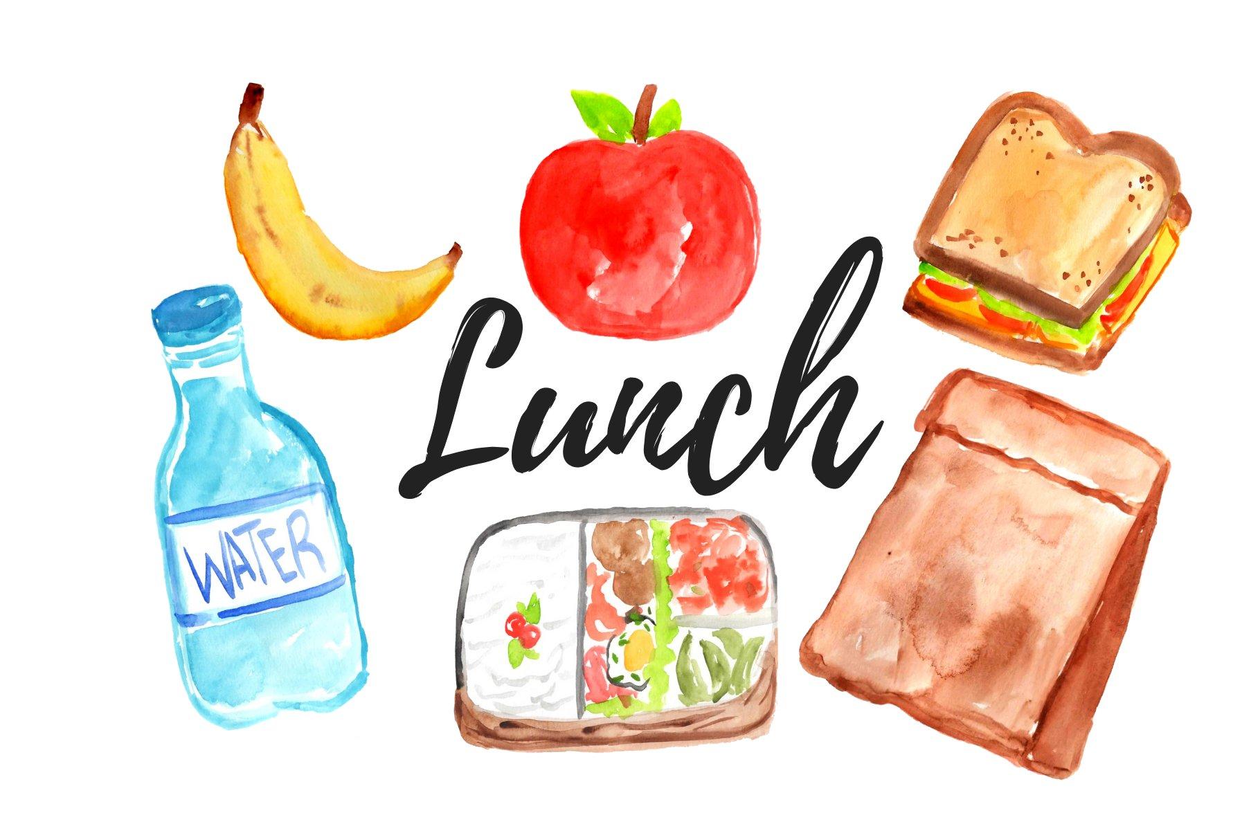 Watercolor lunch clipart | Pre-Designed Photoshop Graphics ~ Creative Market
