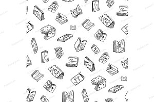 Open Books Drawing Seamless Pattern