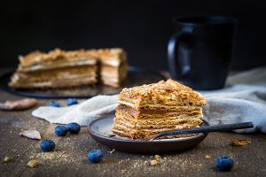 Medovik - layered honey cake