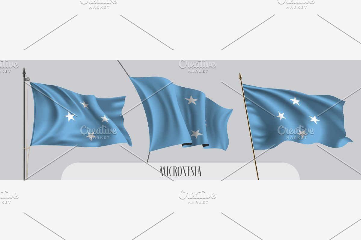 Micronesia waving flags vector