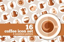 Coffee icons in flat style