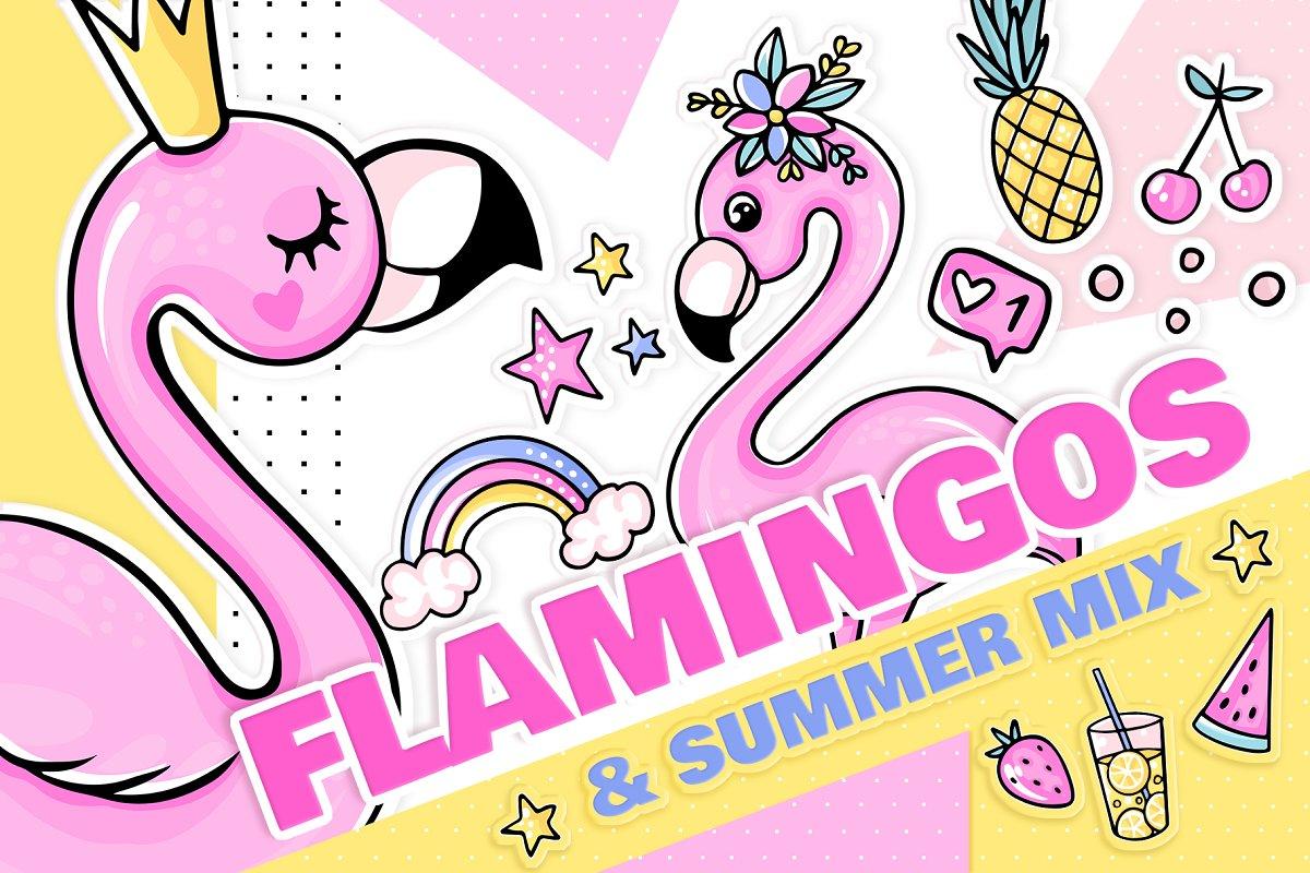 Flamingos, summer, stickers!
