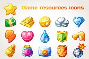 Cartoon resource icons for games
