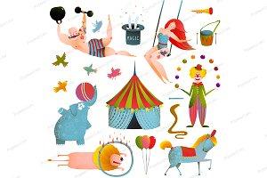 Circus Show Clip Art Vintage Set