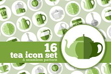 Tea icons in flat style