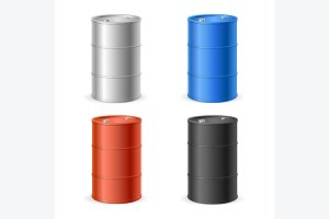 Oil Barrel Drum Collection. Vector