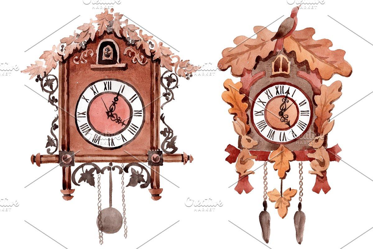 Vintage wall clock watercolor png