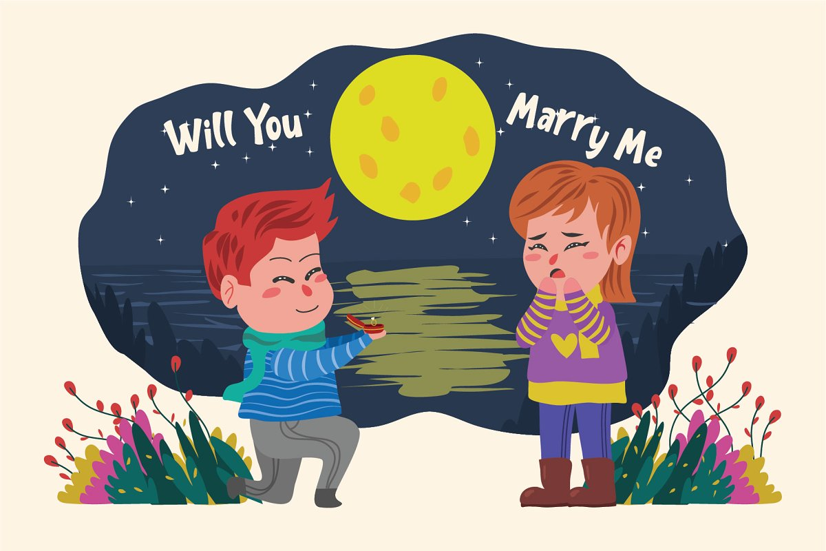 You Marry Me - Vector Illustration