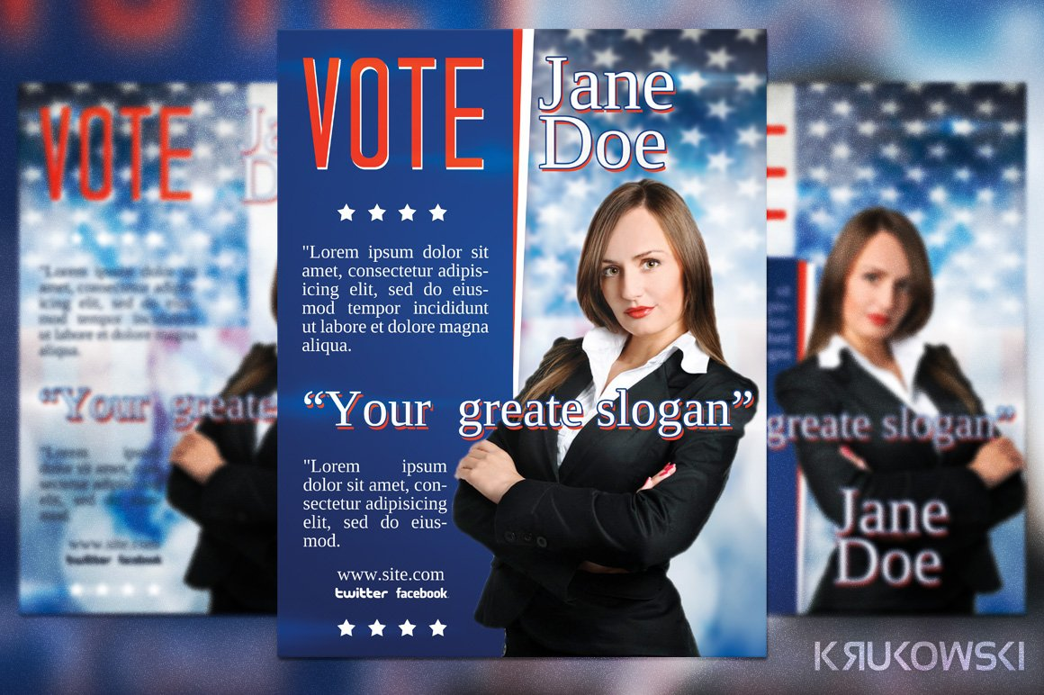 Vote Election Flyer Template Flyer Templates Creative Market - Political campaign brochure template