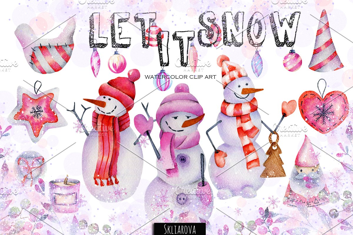 Let it snow. Watercolor collection.