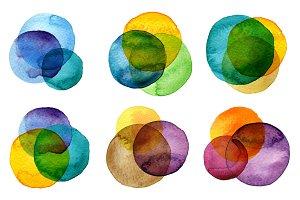 Watercolor painted circles