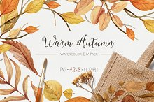 Warm Autumn. Watercolor DIY Pack