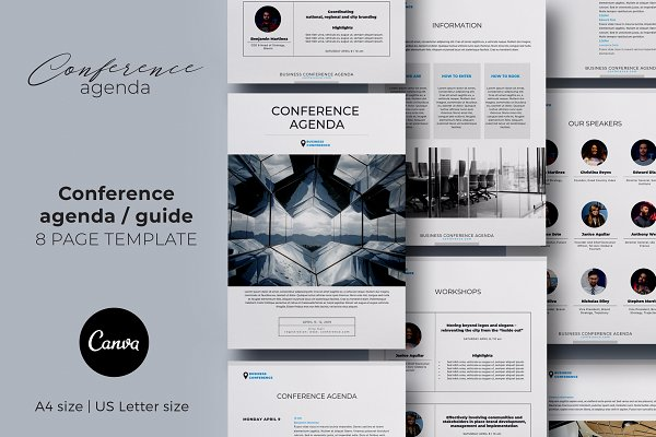Conference Agenda Canva Template