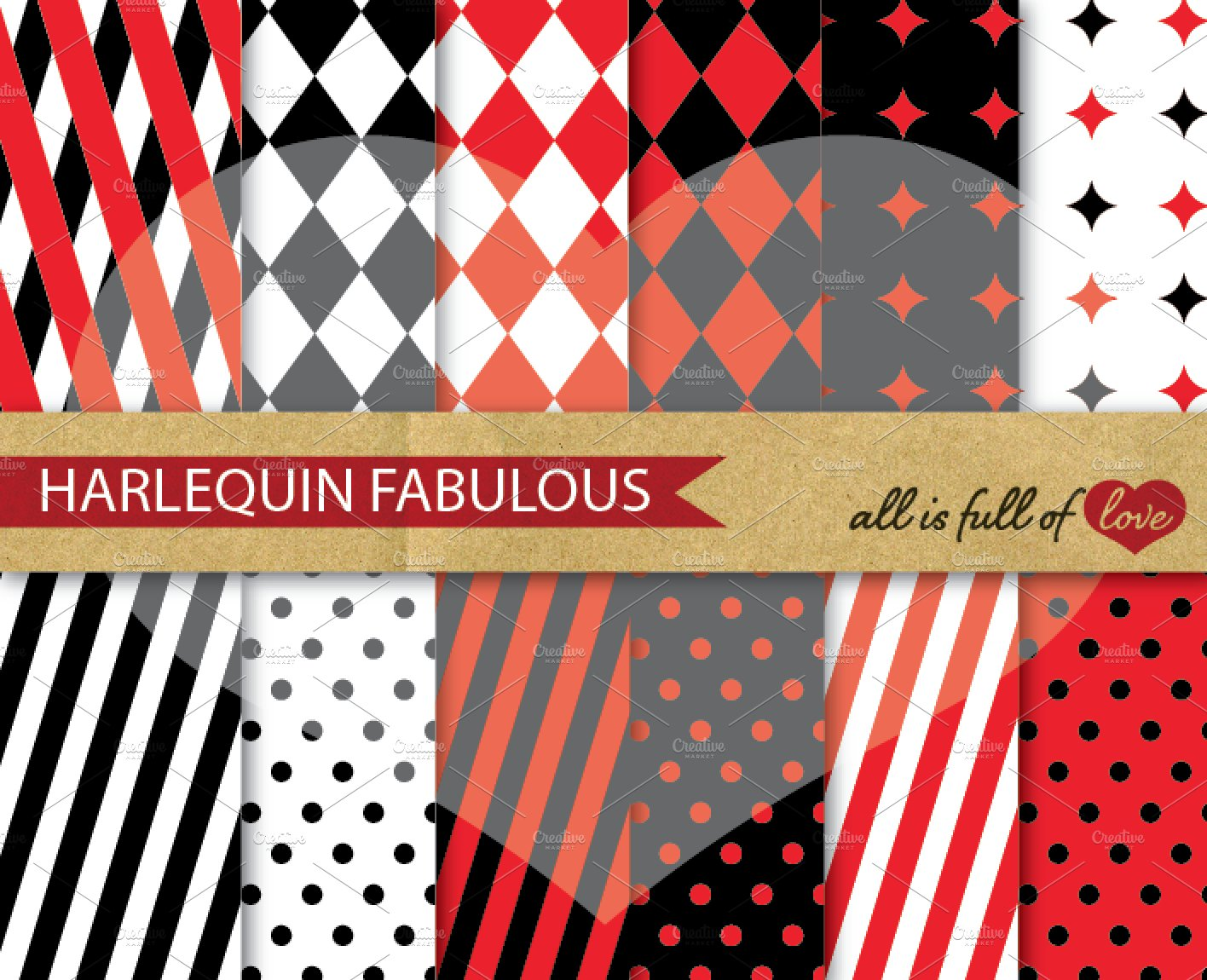 Harlequin Papers Red Black Patterns