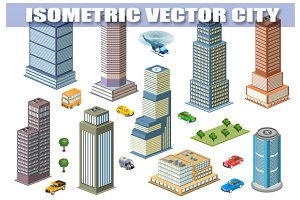 Isometric set of skyscrapers